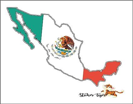 Amazon Com Mexico Map Flag Car Bumper Window Sticker 5 X 4
