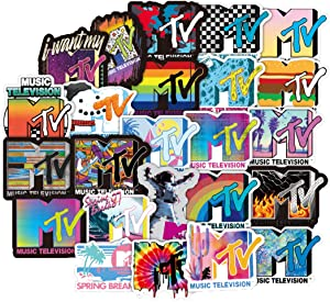 ARPA 50Pcs Fashion Brand Logo MTV Stickers for Laptops Books Cars Motorcycles Skateboards Bicycles Suitcases Skis Luggage Cup Hydro Flasks etc DJKT