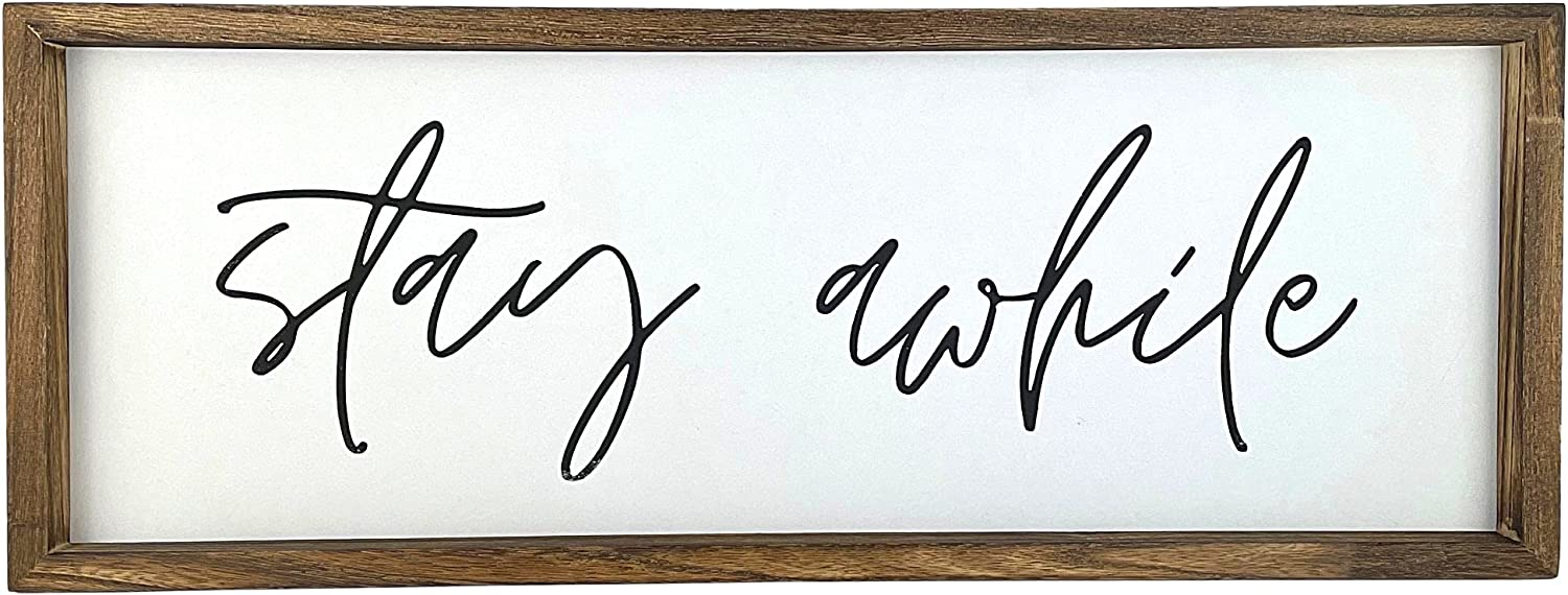 Stay Awhile Sign – Modern Farmhouse Wall Decor for The Home Sign Wall Decorations for Living Room Kitchen Wall Decor Rustic Home Decor Dining Room Wall Decor - (22 x 8 Inch)