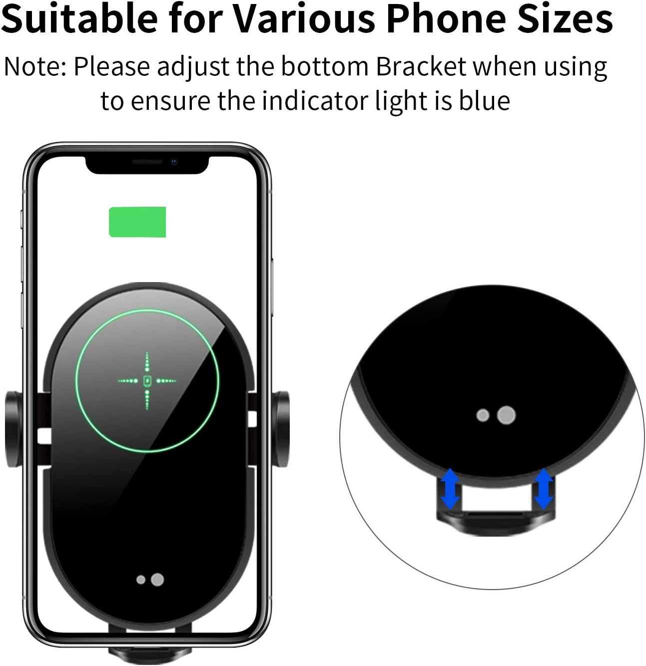 Samsung Galaxy S10//S9//S8 Note 10//9 Upgrade 15W Quick Charging Auto Sensing Stretchable Mobile Phone Holder Feliztrip in-car Wireless Charger Compatible with iPhone 11//11 Pro Max//Xs Max//Xs//XR//X//8