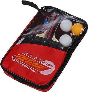 XZANTE REGAIL Jeu de Tennis de Table 2 Raquettes + 3 Balles + 1 Pochette de Raquette Long Manche de Raquette de ping-Pong a Main (Rouge)