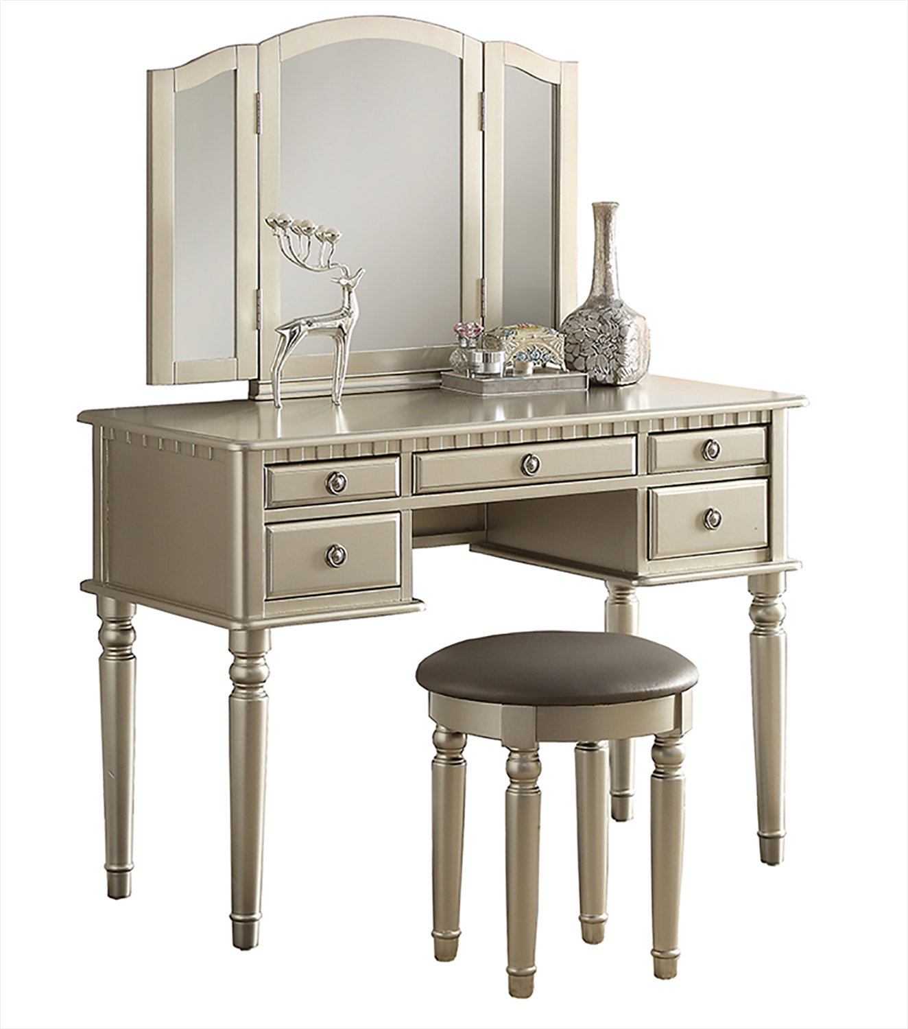 Bobkona F4060 Croix Collection Vanity Set With Stool Rose