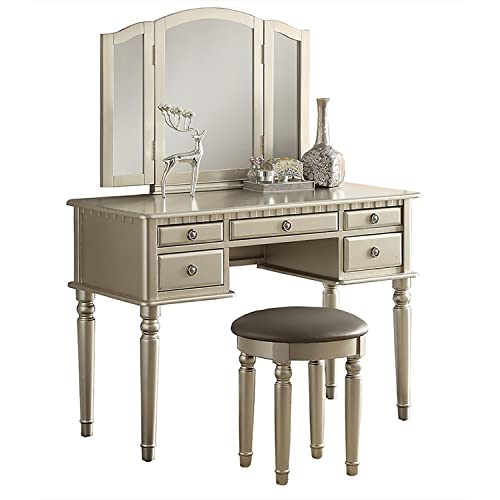 Bobkona F4079 St. Croix Collection Vanity Set with Stool, Silver - Vintage Vanity Set: Amazon.com