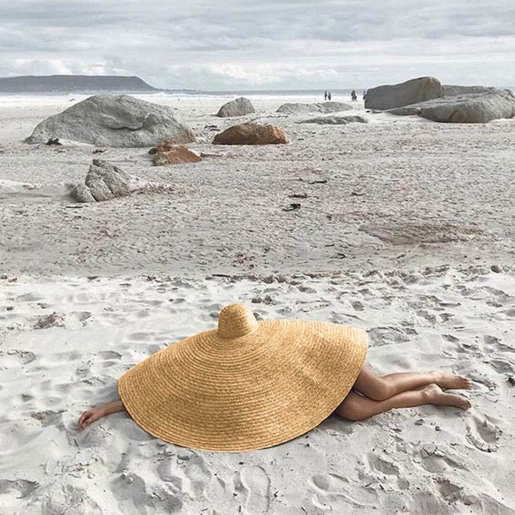 COOgjoei 2019 Large Sun Hat Beach Anti-Uv Sun Protection Foldable Straw Cap Cover