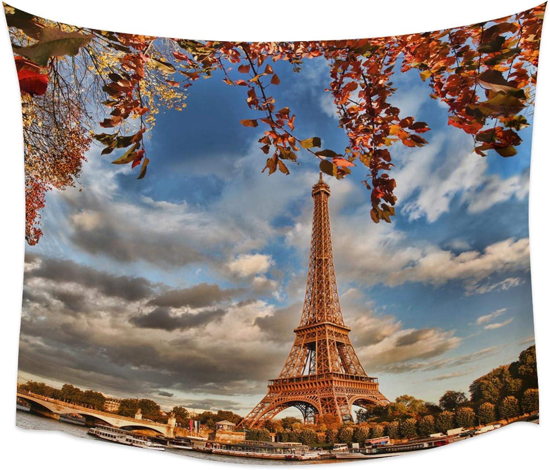 WYCXY Torre de París río Puente de Piedra árboles Hojas Tapiz Colgante de Pared Manta de Playa Dormitorio decoración de Almacenamiento tapices Grandes