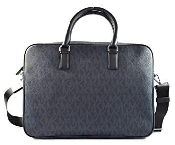 f671963d4649 Michael Kors Jet Set Mens Large Leather Briefcase Laptop Bag Baltic Blue (BALTIC  BLUE)