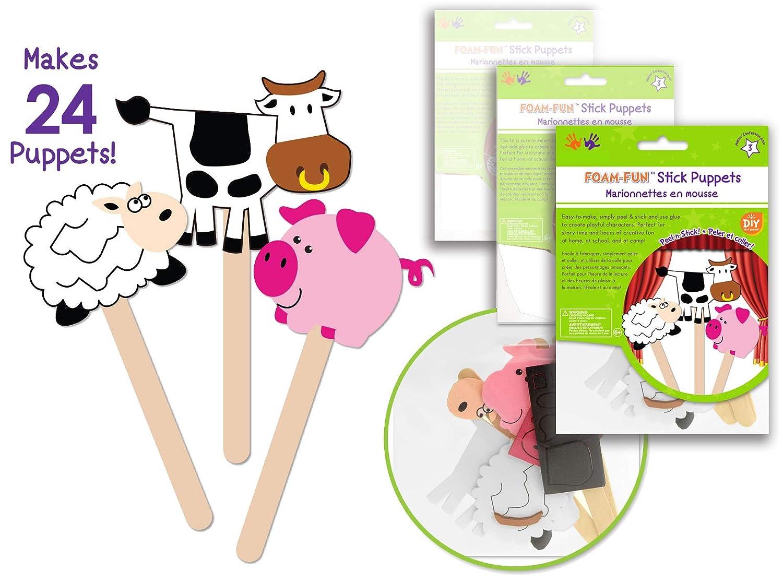 Amazon Com 24 Pk Foam Stick Puppets Farm Animals Farm Party Craft