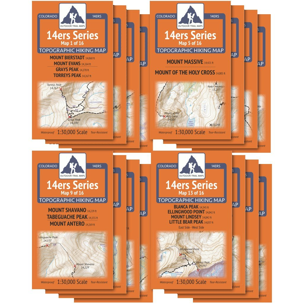 Colorado 14ers Complete 16 Map Pack - All 58 Colorado Fourteeners by Outdoor Trail Maps