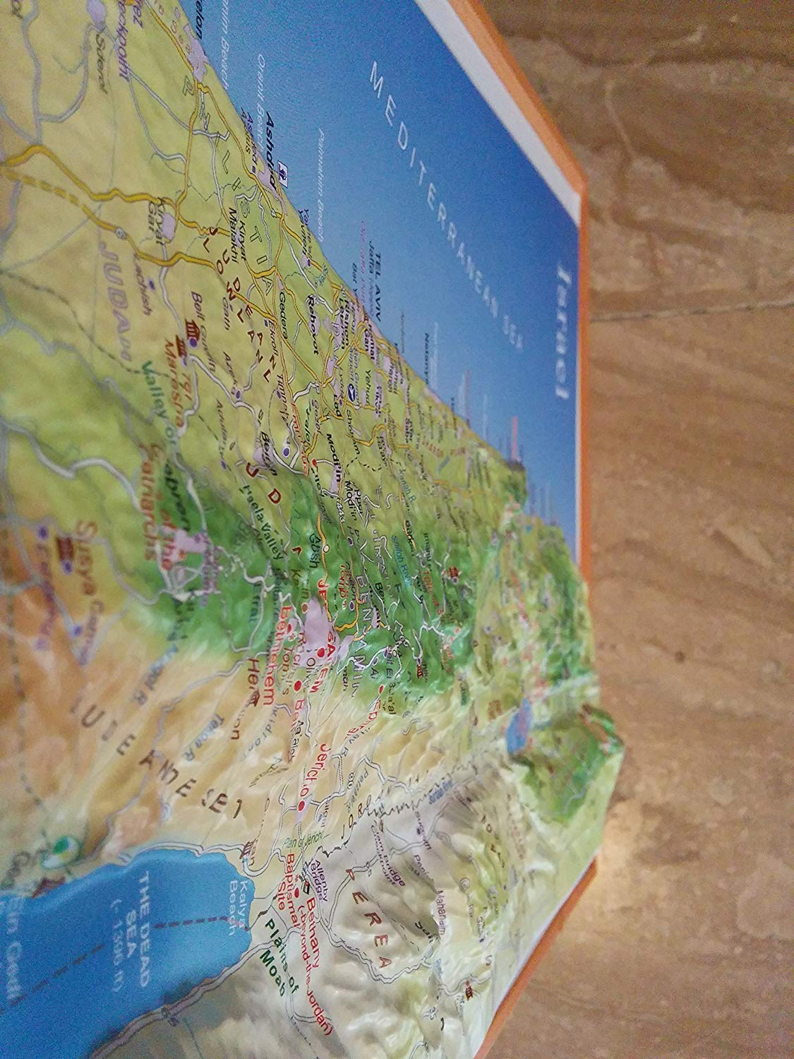 Raised Relief 3D Map of Israel with Sites of Christian Interest (Size L: 20''x9'')