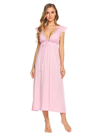 33faa189da Kisshes Women Ladies Long Nightdress Victorian Nightgown Vintage Sleeveless  Nightie Backless Lace Maxi Dress Nightshirt White Pink Blue  Amazon.co.uk   ...