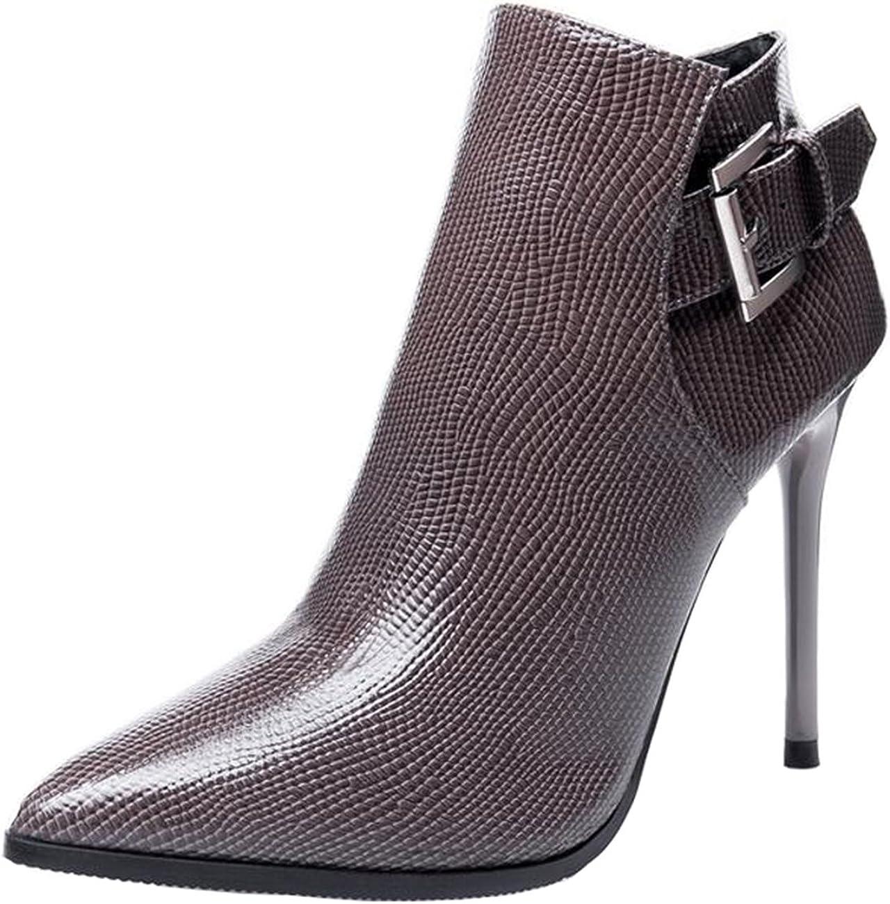 Binying Boots Femme Bout Pointu M/étal Aiguille Fermeture Eclair