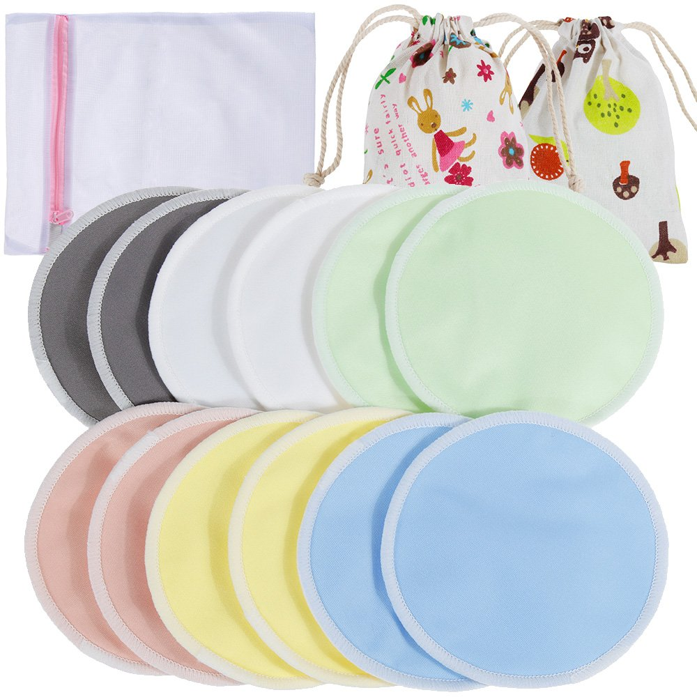 Lictin 12 pcs (6 Paris) Nursing Pads Set-Nursing Pads Washable Organic Bamboo Nursing Pads Reusable Nursing Pads Washable Soft Absorbent Nursing Pads with 1 Laundry Bag and 2 Organza Bags