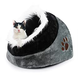 Todeco - Grotte pour Animaux en Peluche, Maison pour Chat - Matériau: Éponge Douce - Accessoires: (1x) Coussin Amovible - 48 x 43 x 32 cm, Gris