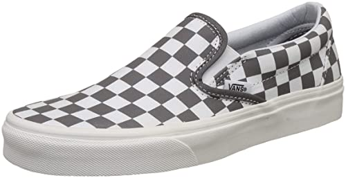 0733c786bdeb25 Vans Unisex s Classic Slip-On (Checkerboard) Pewter Marshmallow Loafers-10  UK