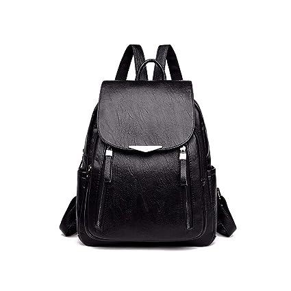 fb8f7872e6c0 Amazon.com: 2019 Women Leather Backpacks Female Shoulder Bag,Black ...