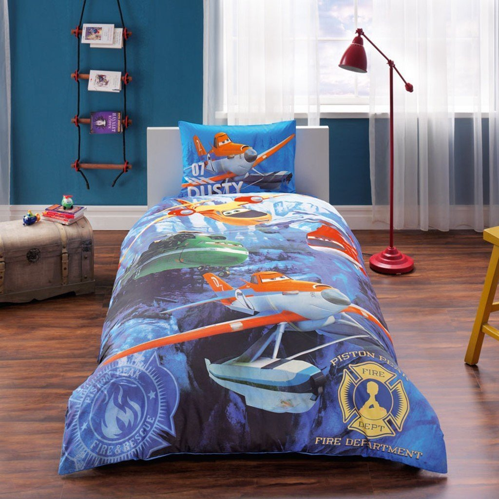 100% Turkish Cotton Ranforce Single Twin Size Duvet Cover Set Made in Turkey Licensed (Disney Planes Fire & Rescue)