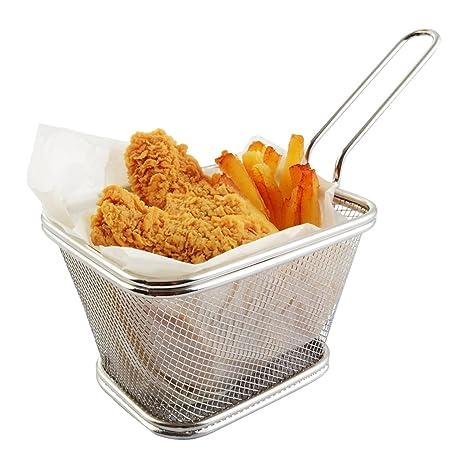 Mini Chips Fry Basket Cestas de Freidora de Acero Inoxidable Colador Servir Presentación de Alimentos Herramienta