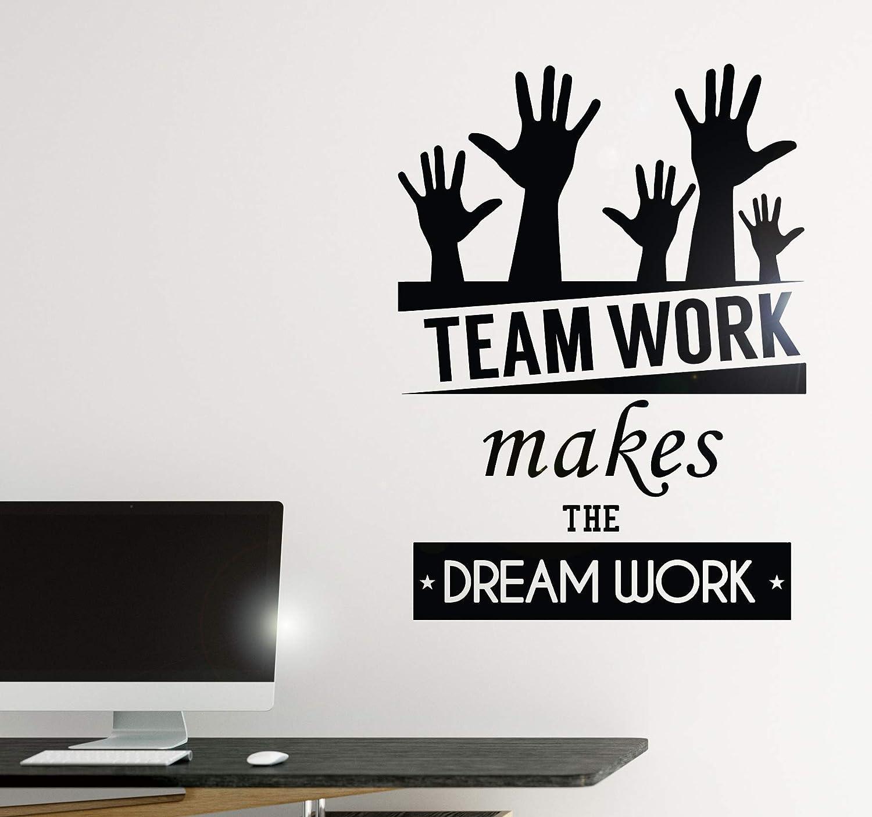 Vinyl Decal Wall Sticker Office Quote Teamwork Makes The Dreamwork Decor (z3955) Black