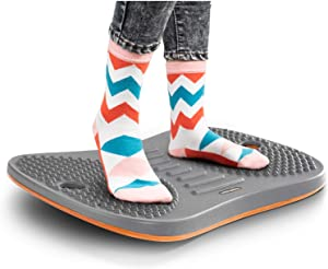 FEZIBO Standing Desk Anti Fatigue Mat Wooden Wobble Balance Board Stability Rocker with Ergonomic Design Comfort Floor Mat (Medium, Obsidian Black)