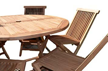 Admirable Mortimer 6 Seater Garden Set Solid Teak 1 2M 4Ft Round Folding Table With Folding Chairs Pdpeps Interior Chair Design Pdpepsorg