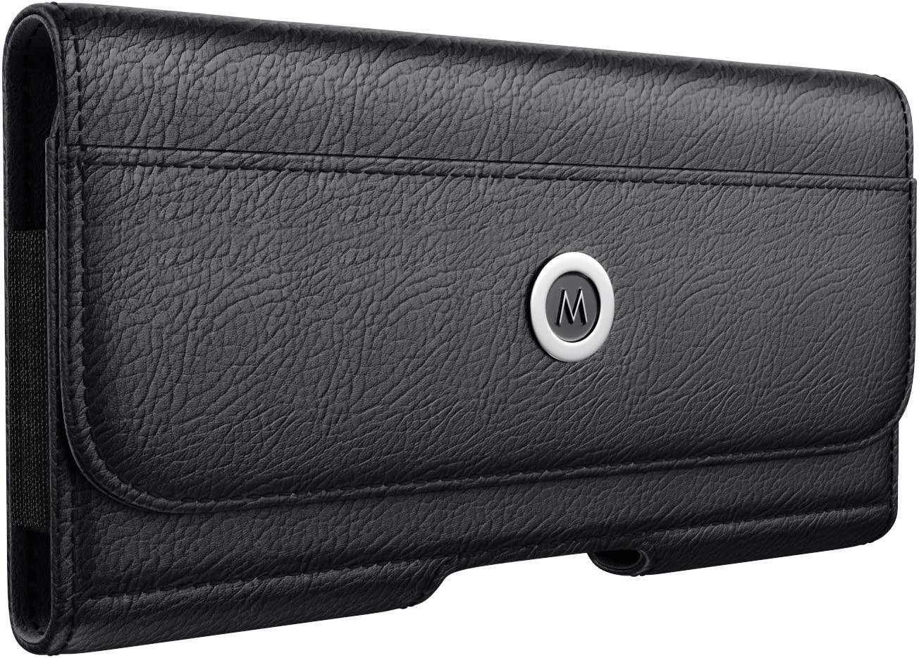 Meilib iPhone 10 X XS Holster, Premium Leather Belt Clip Case Pouch Holster Case with Belt Clip for Apple iPhone X/XS (Fit w/a Thin to Medium Cover on) - Built in Card Slot Holder - Black