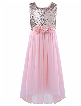 FEESHOW Girls Dress Sequins Chiffon Flower Dress Wedding Bridesmaid Pageant Party Prom Dresses Sleeveless Pearl Pink