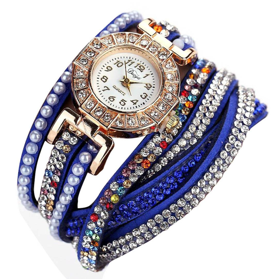 Hunputa Ladies Watch Women Pearl Scale Bracelet Quartz Wristwatch Crystal Diamond Clock Women Dress Watch (Dark Blue)