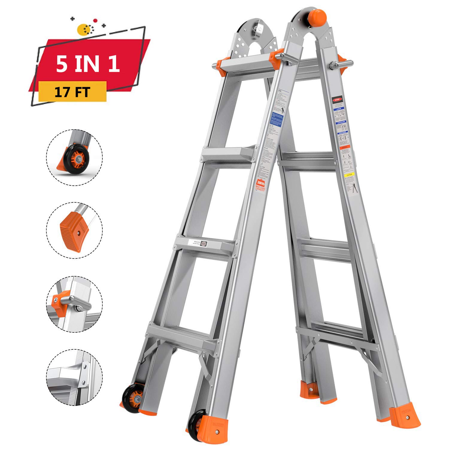 """TACKLIFE Multi-Use Ladder, 17ft, 300lb Max Duty, Rivet Link, Spring Loaded """"J"""" Lock Unique Design,5 Height-Mode, High Anti-Skid, Aluminum Alloy Material HXLD02A"""