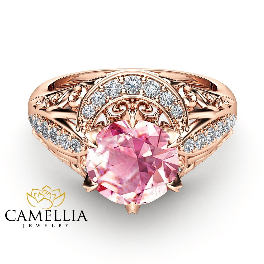 Amazon.com: Pink Sapphire Engagement Ring 14K Rose Gold Vintage Ring ...
