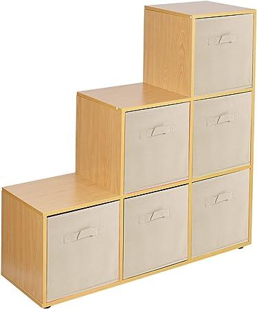 URBNLIVING Estantería de 6 cubos en forma de escalera con 6 cajones, Beige Drawers, Beech 6 Cubes: Amazon.es: Hogar