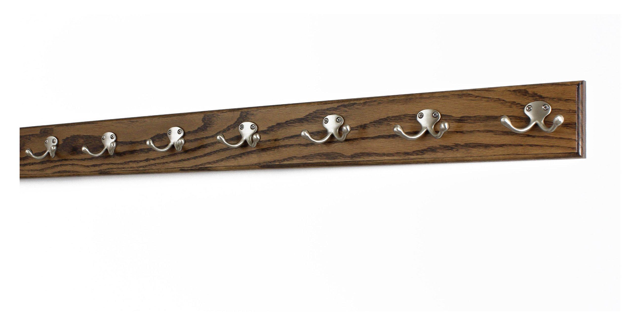 Oak Coat Rack with Satin Nickel Double Style Hooks (Walnut, 36'' x 3.5 with 7 hooks)