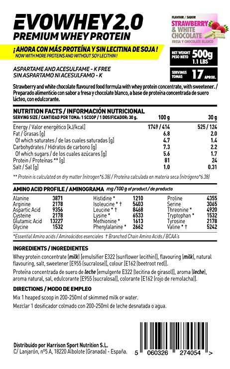 Whey Protein Concentrate (WPC) de HSN Sports - Concentrado de Proteína de Suero Evowhey 2.0 - Sabor Fresa Chocolate Blanco - 500 gr: Amazon.es: Salud y ...