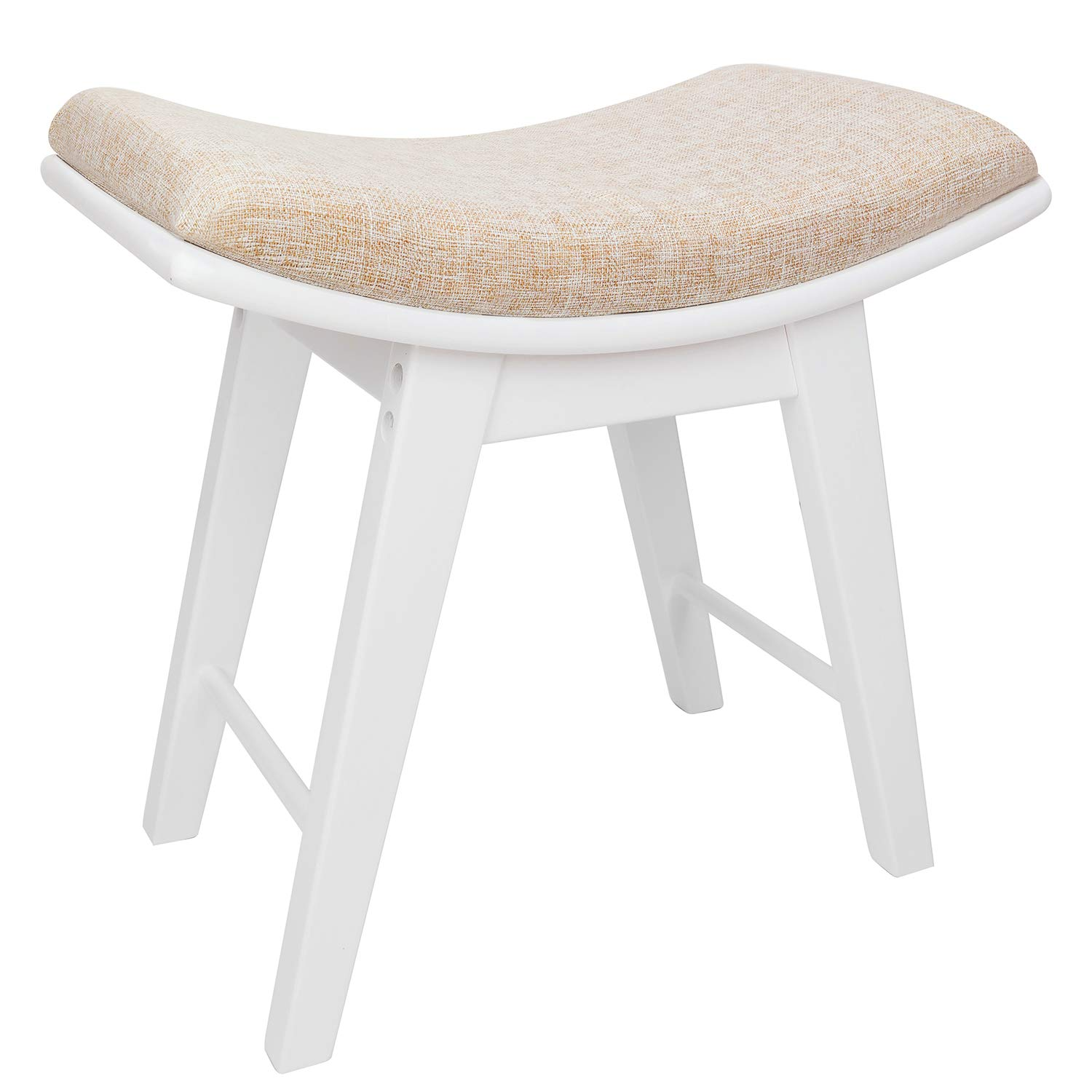 Vanity Stool Modern Concave Seat Surface Makeup Dressing Stool Padded Bench with Rubberwood Legs, Capacity 300 lb, Easy Assembly, White
