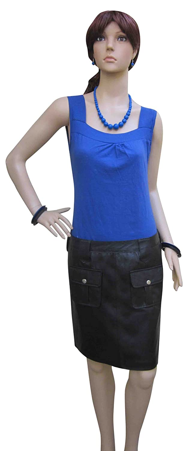 Bespoke Tailored Leather - Leather Skirt Front Pockets In Real Sheep Nappa - Length: Med 46Cm