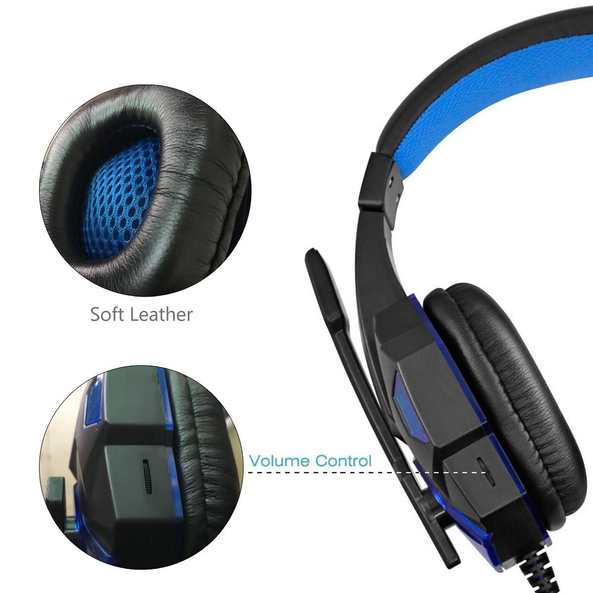 Gaming Headset for PS4 Xbox One, hyfanda Over Ear Gaming Headphones with Mic, Stereo Bass Surround, Noise Reduction, LED Lights and Volume Control for Laptop, PC, Mac, iPad, Smartphones (Blackblue)