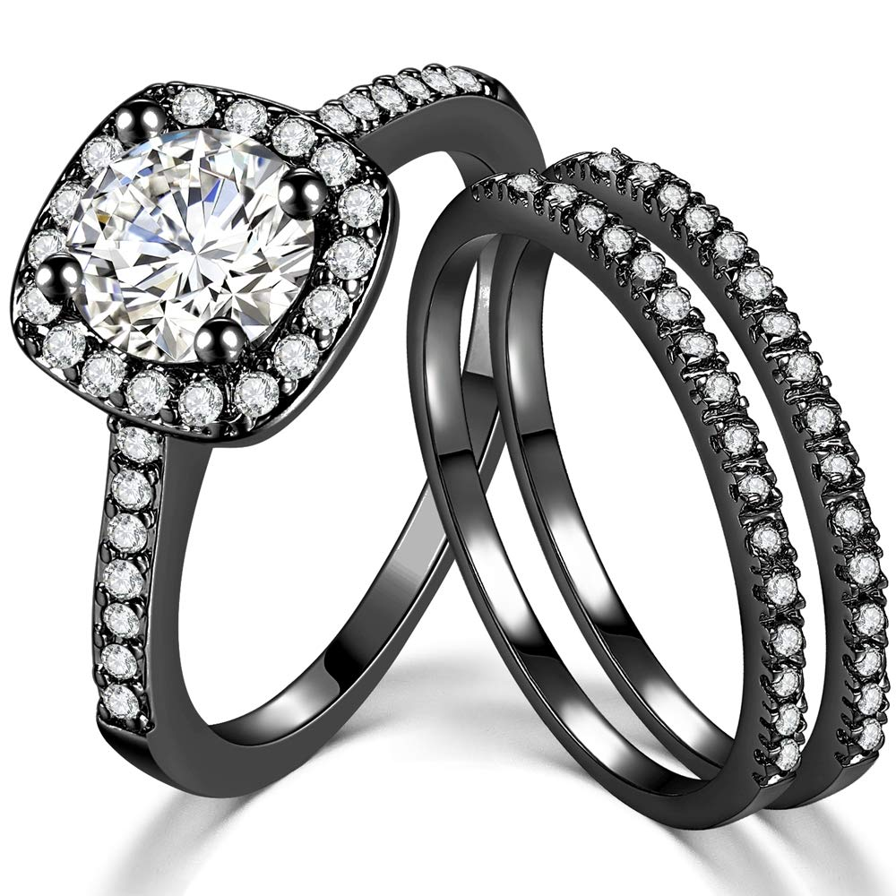 SDT Jewelry Three-in-One Bridal Wedding Engagement Anniversary Statement Eternity Ring Set