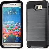 Dream Wireless Funda para Samsung J5 Prime, color G570 Uso Rudo con Doble Protector de Plástico con Aspecto Metálico, color Negro