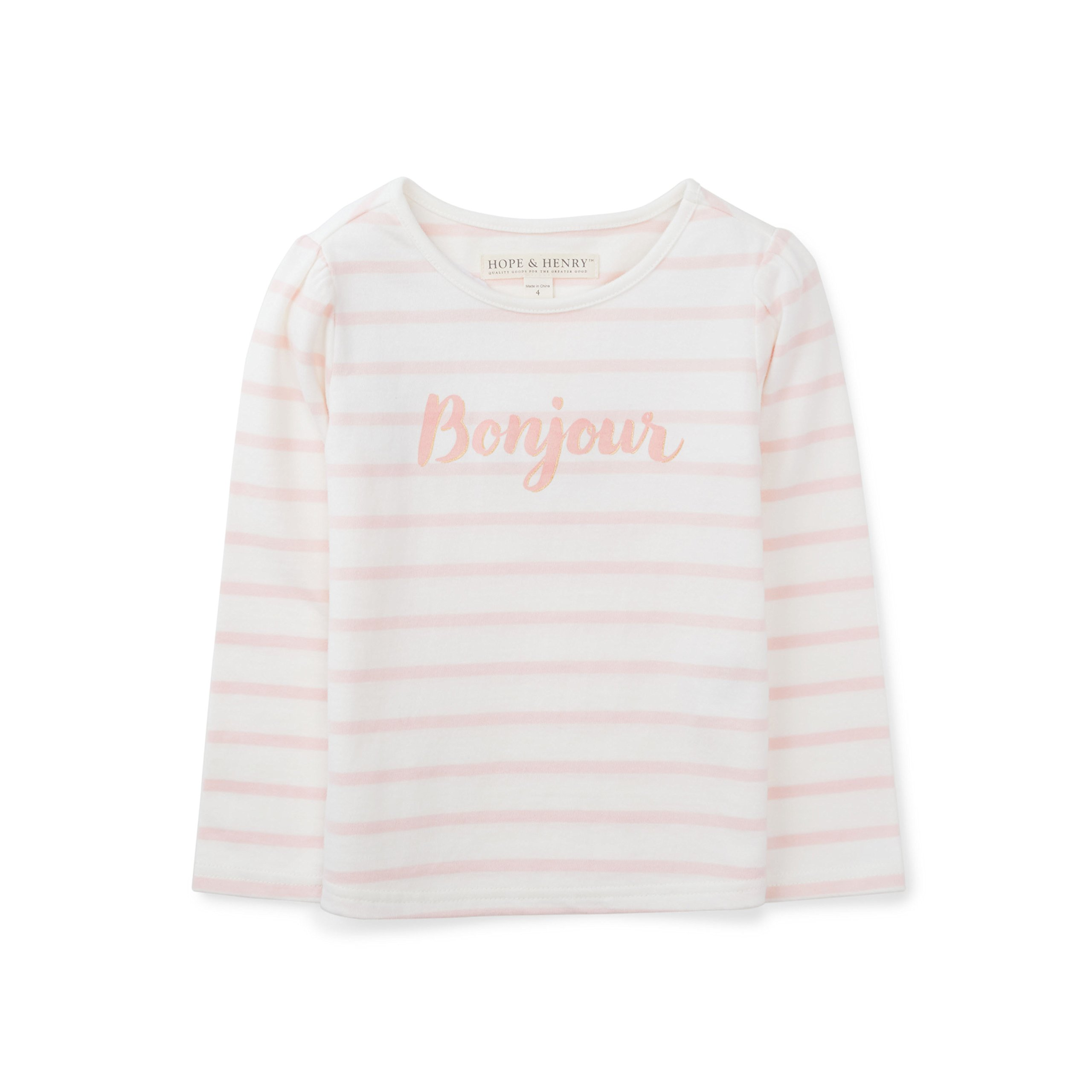 Hope & Henry Girls' Bonjour Graphic Tee Made with Organic Cotton Size 5