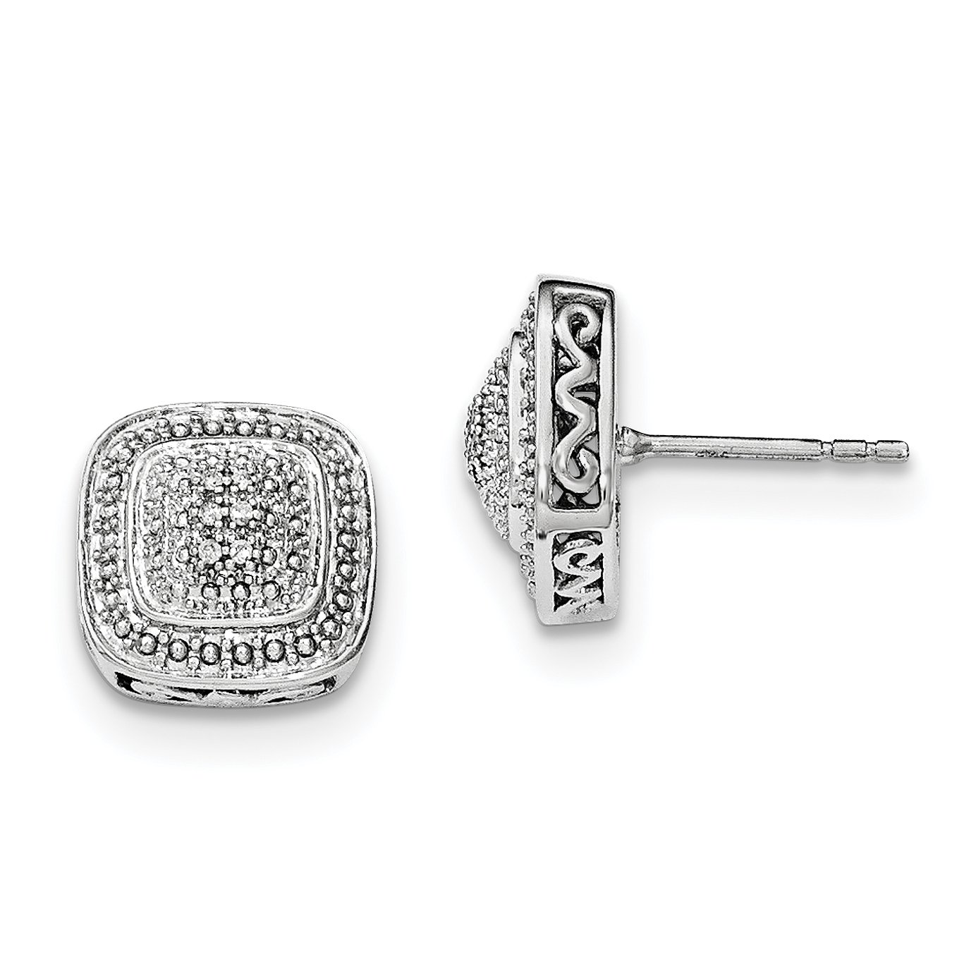 ICE CARATS 925 Sterling Silver Square Shape Diamond Post Stud Ball Button Earrings