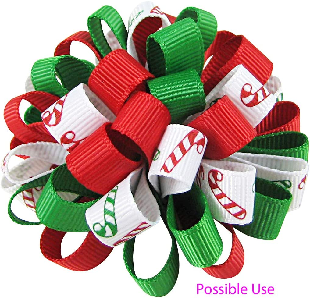 Q-YO Holiday Grosgrain Ribbon Set for Gift Package Wrapping Wedding Decor. Hair Bow Clip Accessory Making 60yd 3//8 Grosgrain Ribbon-Xmas 12x5yd Crafting