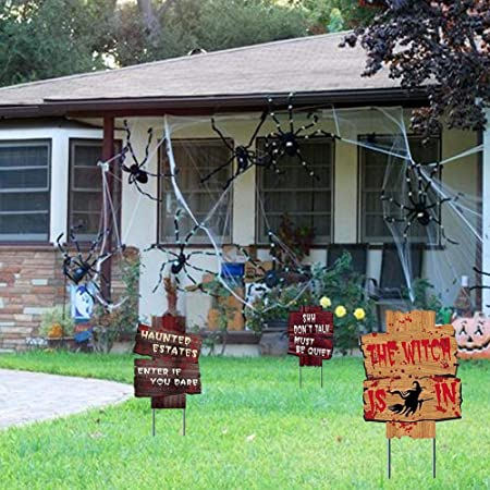 Cathy02Marshall 6PCS de Halloween Decoraciones Yard Signs estacas Guárdese Apoyos al sangrienta asustadiza del Zombi del Vampiro de Halloween al Aire Libre Patio de Graves Warning Atrezzo Wonderfully: Amazon.es: Hogar