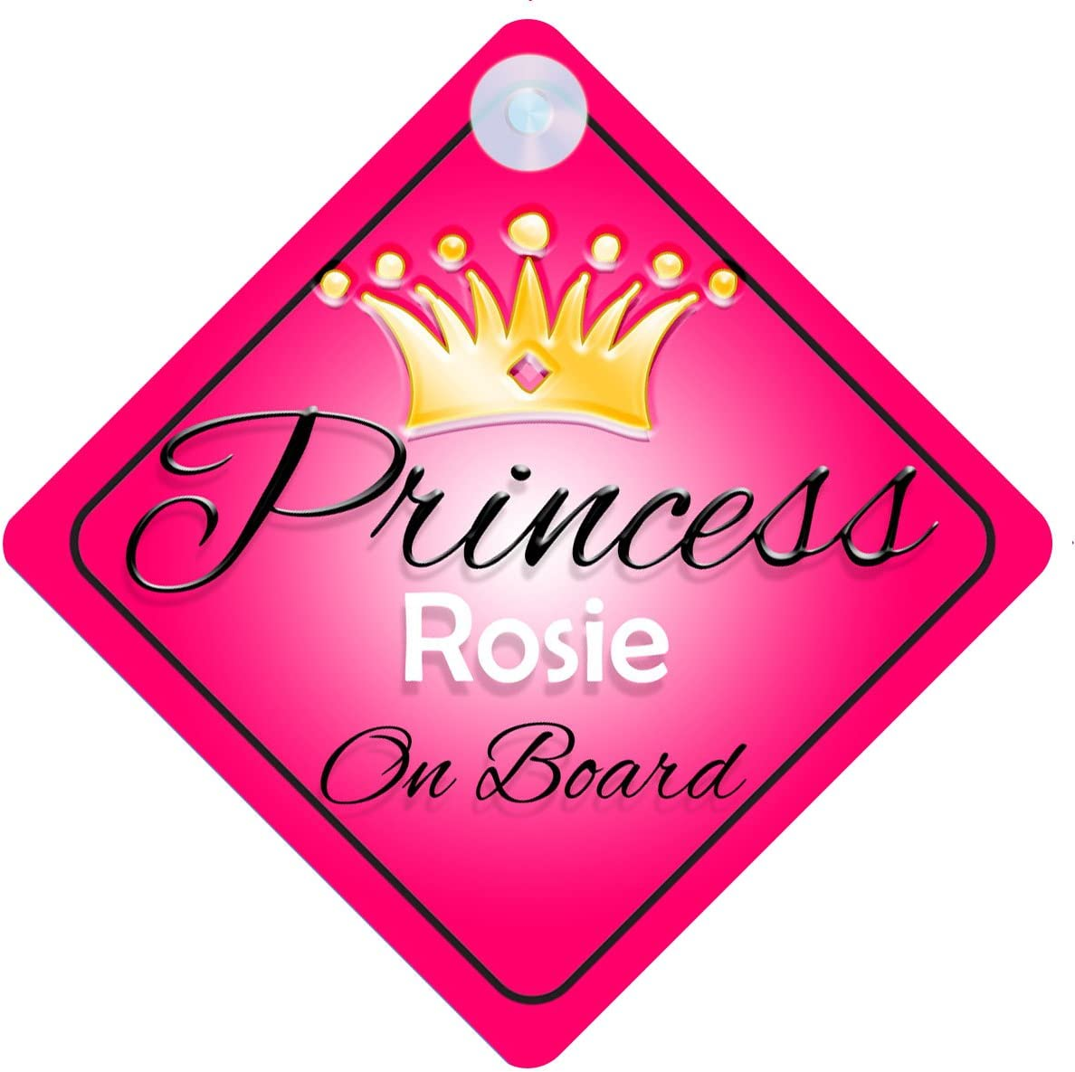Child Gift 001 Princess Rosie On Board Personalised Girl Car Sign Baby