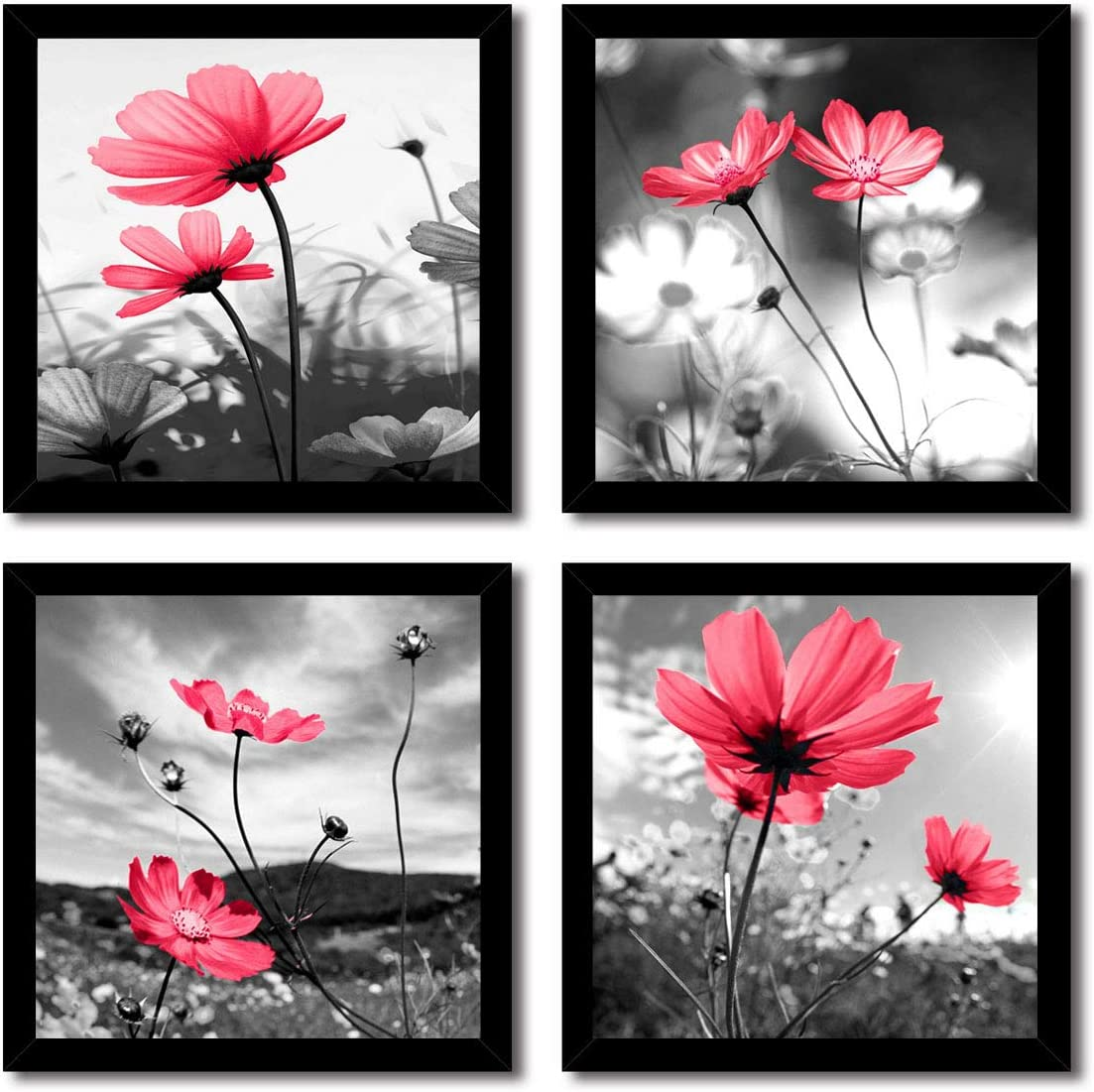 HLJ ART Modern Salon Theme Black and White Peacock Blue Vase Flower Abstract Painting Still Life Canvas Wall Art for Home Decor 12x12inches 4pcs/Set (Red, 12x12inchx4pcs)