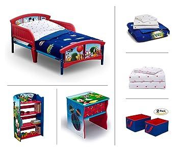 best website 05e0b c52d4 Disney Mickey Mouse Toddler Room Set, 6-Piece (Toddler Bed | Bookcase |  Side Table | Bedding Set |...