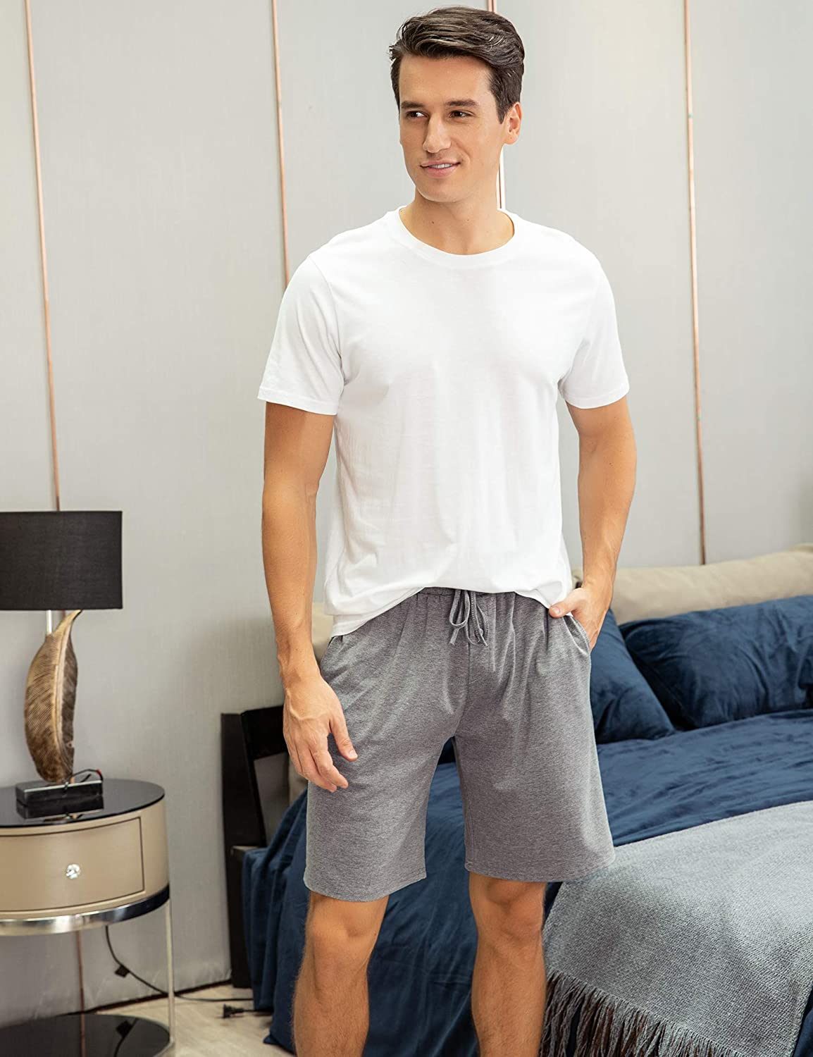 Aibrou Mens Sleep Shorts Cotton Knit Button Fly Pajama Short with Pockets