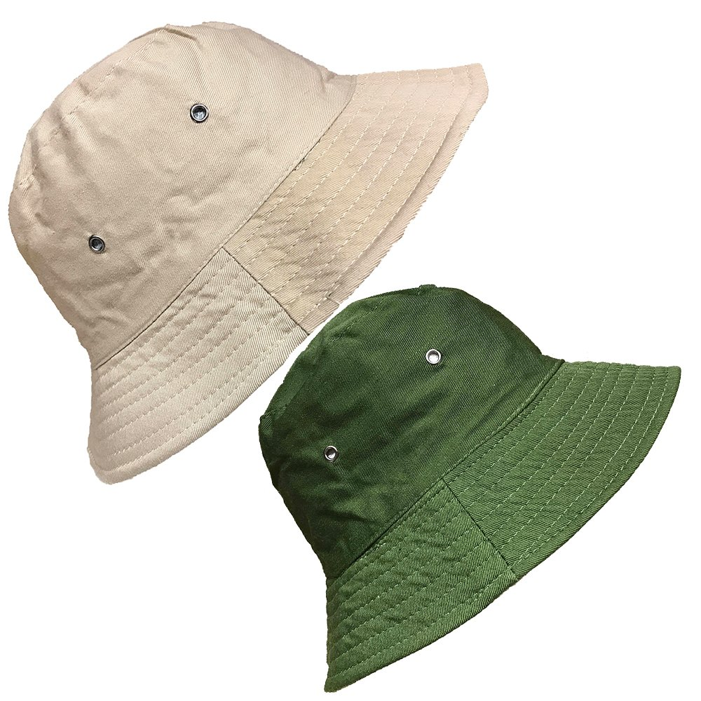 DINZIO Mens Ladies Plain Reversible Cotton Summer Bucket Bush Hat
