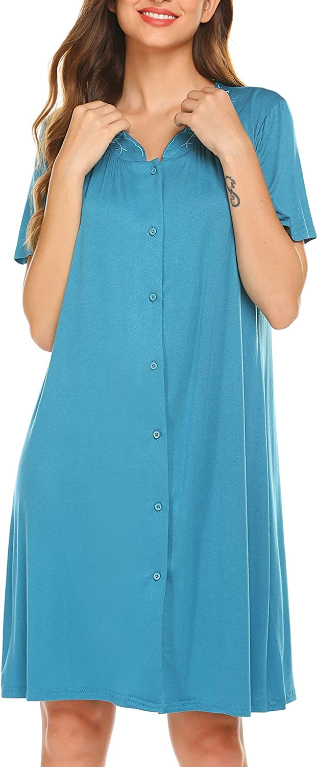 Ekouaer Nightgown Button Front Sleepshirt Short Sleeve Dusters and Housecoats V-Neck Lounger Dress for Women