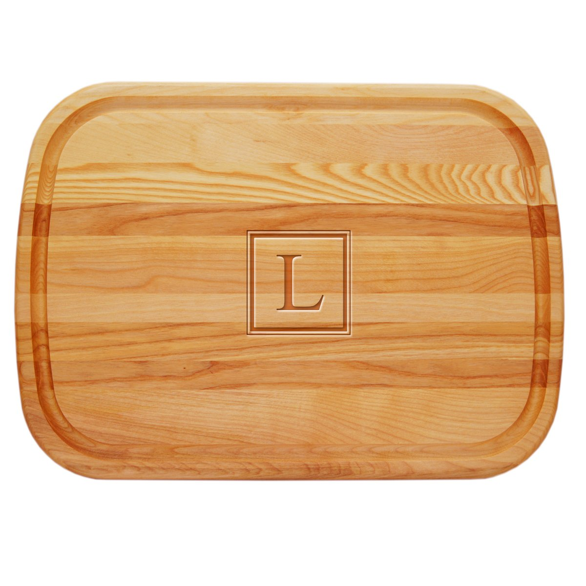 Carved Solutions 735255449860  Large Everyday Board with Etched Square Single Initial J.