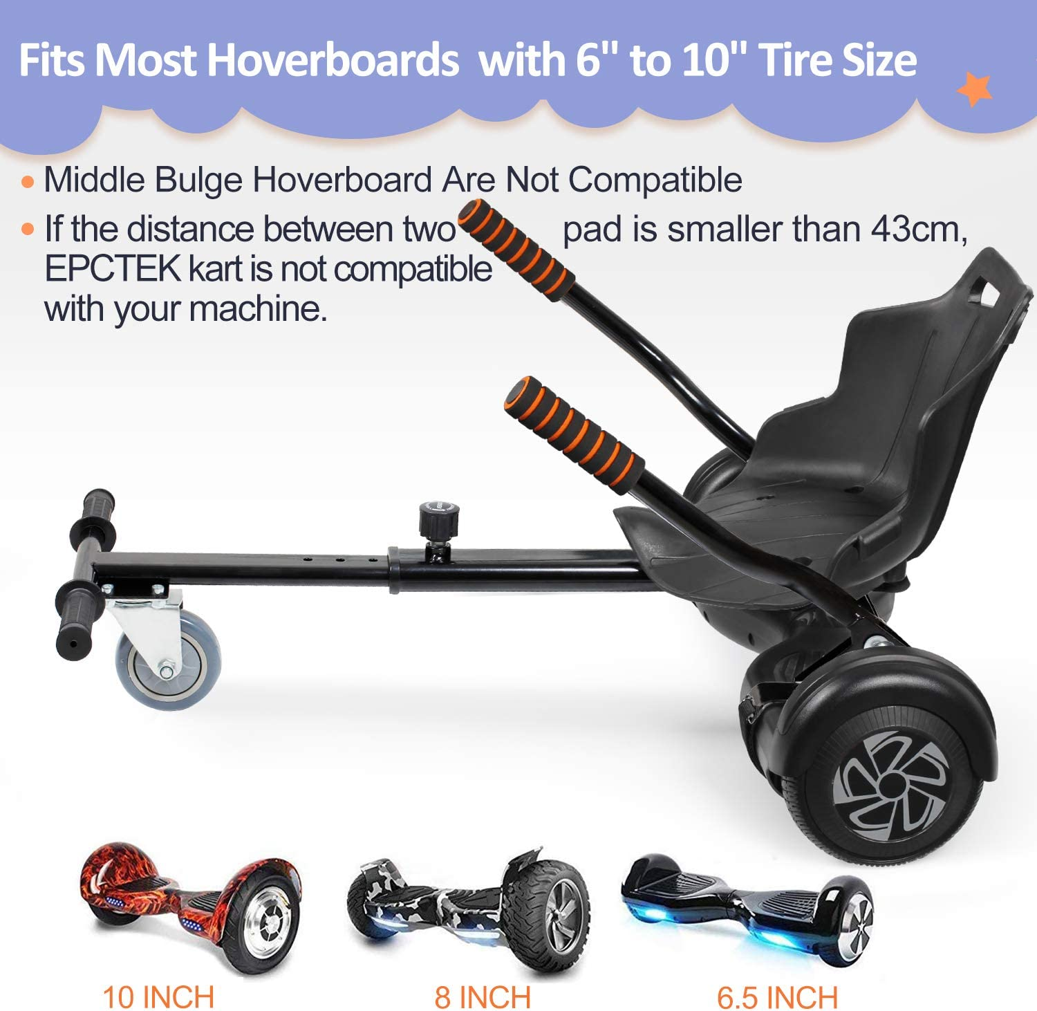 Hoverboard Not Included EPCTEK Hoverboard Kart Seat Attachment Accessory Compatible with 6.5 8.5 10 Two Wheel Self Balancing Hoverboard