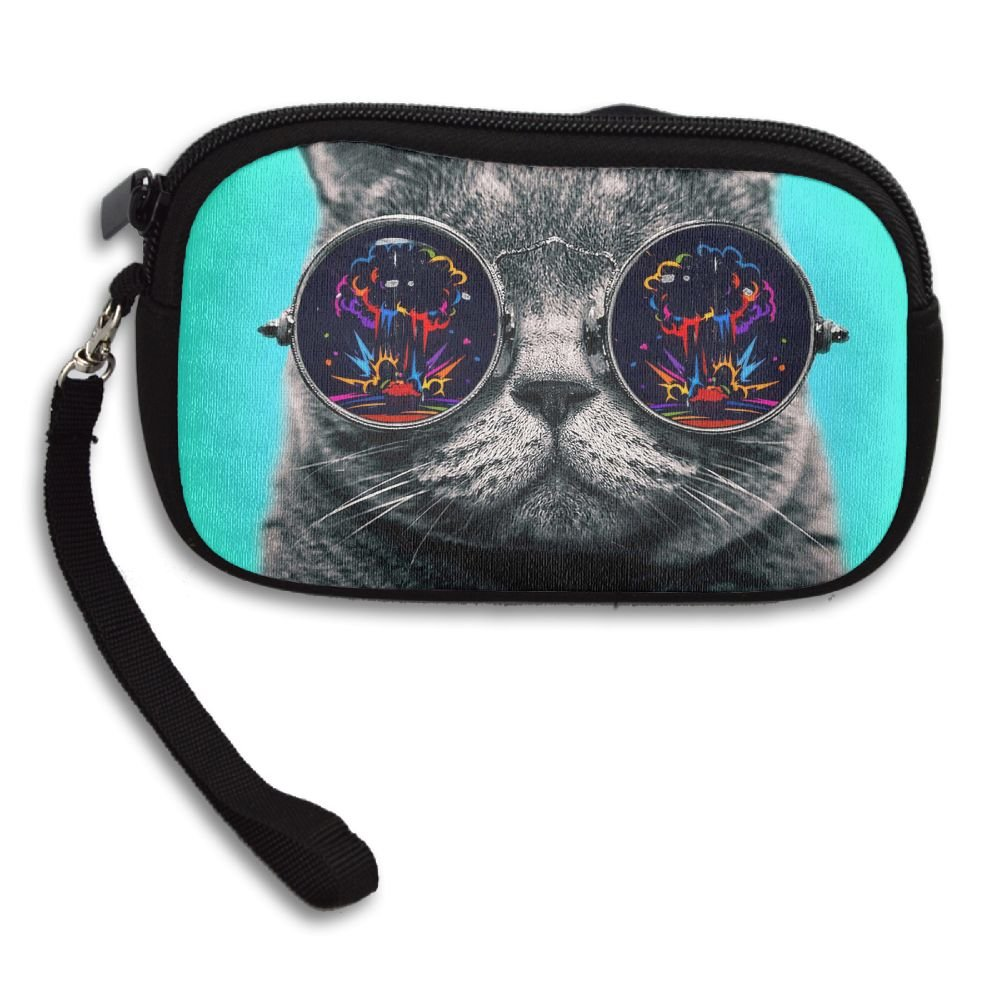 Womens Small Wallet Big Glasses Cat Zipper Card Purse Phone Case Holder Wallets With Chain Mini Coin Pouch